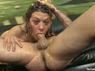 Vomit covered cock fucking leena sky's face