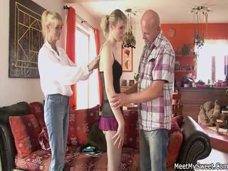 Old Mommy And Dad Seduce And Pounde Their Son's Puss
