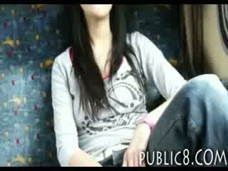 Superb amateur chick payed and cunt fucked in public bus