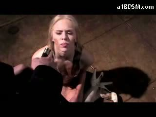 Blonde Girl In White Boots Scooping Washed With Water Pussy Fingered In The Basement