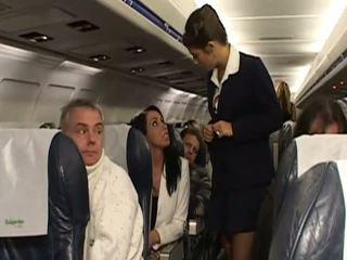 Kova seksi kanssa hyvin kuuma stewardesses