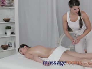 Massage Rooms Experienced busty lesbian gives young teen orgasm of her life