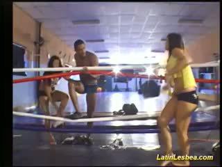 Flexi Latin Lesbea Fight On The Boxing Ring