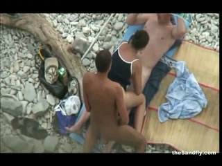 vol voyeur, strand, heetste hot nudism