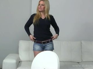 Melissa banged on couch on porn tryout