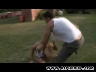 Busty Blondes Gets Ripped Outdoor