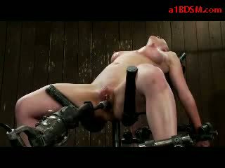 Girl Tied To Chair Tits Tortured With Vacum Pussy Sitmulated With Vibrator By Mistress Fucked With Fucksaw In The Dungeo