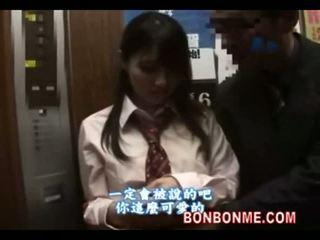 Jepang murid wedok gives lucky guy a bukkake in elevator 01