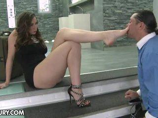 voet fetish video-, mooi sexy benen scène, zien footjob