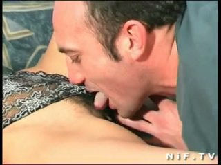 Hairy French slut gets a big cock in her ass