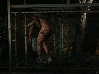 Hot blondes naked in cage for hot action.