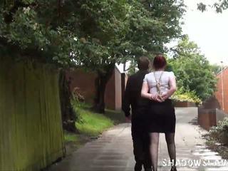 Redhead amateur Sacha in public bondage