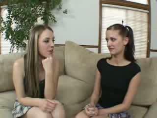 Lesbian schoolgirls finger and lick