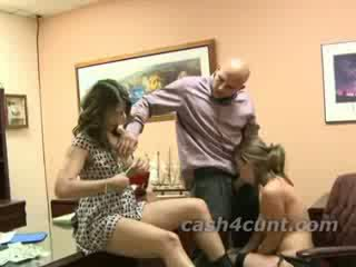 Secretary turns into a slut for cash as a dude she just met buys her mouth