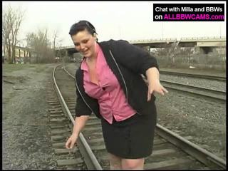 Fat Princess Gets Nude On Railway