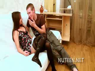 Awesome horny babe getting face fucked