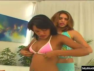 Sexy Latina girls, Bianca and Dara, team up to take on a fit