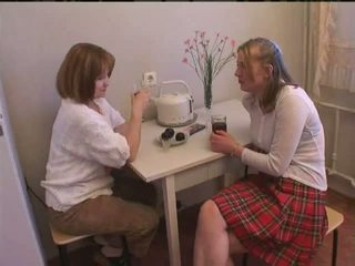 Russian mom and stepdaughter have fun Video