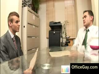 Gay sex at the office with 2 sexy studs