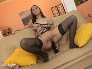 Gaping her asshole with a big brutal dildo