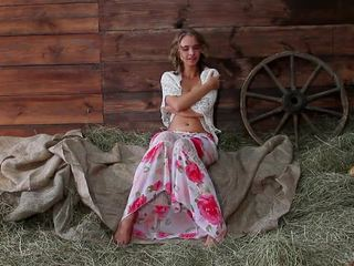 European country girl posing