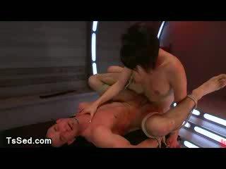 Big boobs tranny Eva Lin fucks bound guy in his asshole