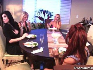 Milf lesbians eating smush mitten in the kitchen