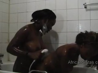 Busty African goes kinky washing her lovers hot body