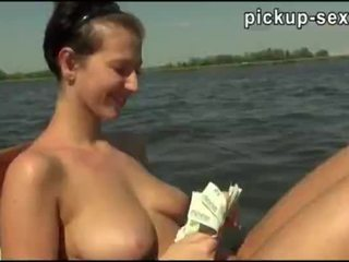 Big juggs amateur Eurobabe Nikol pussy pounded on a boat