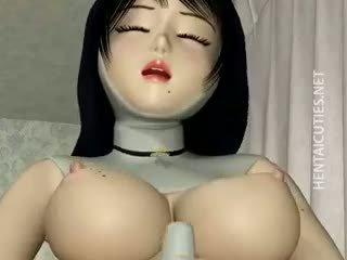 3D Hentai Nun In Stockings Dildo Twat