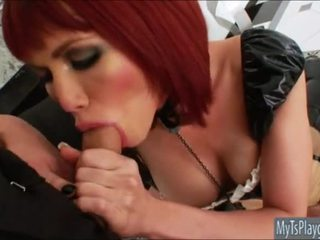 Red haired Tgirl Eva Lin anal assault