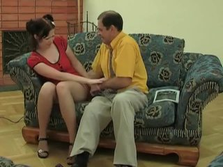 Young chick in stockings gets fucked by old dude