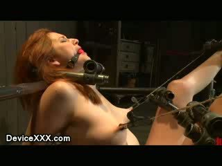 Bound onto the floor babe cunt vibed and nipples clamped