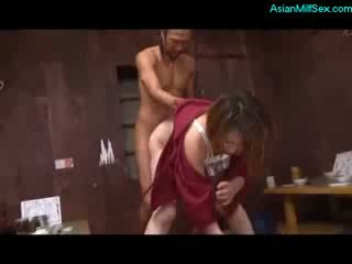 Mature Woman In Kimono Sucking Cock Fucked By 2 Guys On The Floor
