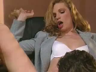 Horny secretary Hannah Hunter slurps a long stiff cock like a monster noodle