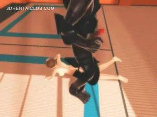 Anime karate girl fucking monsters giant penis