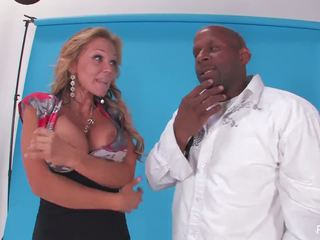 Nikki sneaks backstage and fucks big black security guard