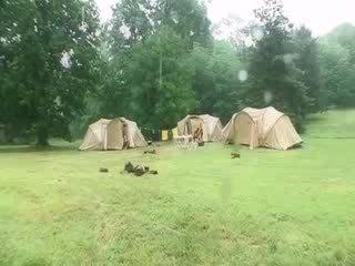 Sue Diamond College DP in a tent