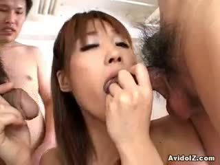 brunette, blowjob free, quality threesome