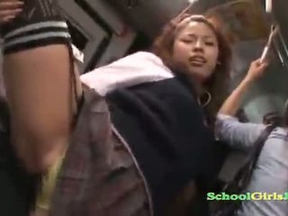 Hot Schoolgirl Fucked While Standing Facial On The Bus