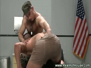 Army pornstar gets blowjob at interview