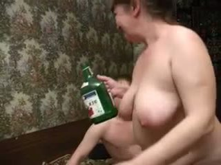 Granny with tasty boobs, plump body & guy