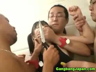 Asian slut group grope orgy