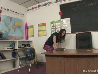 Slutty student fucks two teachers