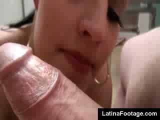 Hot Big Tits dark haired Carmen Croft sucks husband shaft