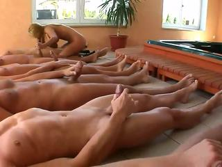 Five strong dicks for one dirty blonde whore