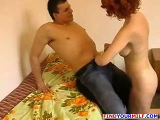 Russian guy cum inside mature redhead mother