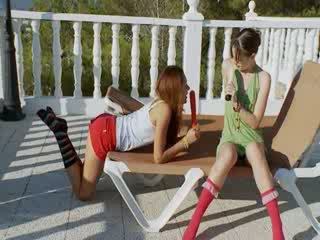 Two girl4girl dildoing Pussies out doors