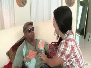 Slutty housekeeper blowing monstr gara cocks at home