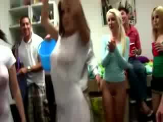 Great wet t shirt contest in dorm room with awesome girls